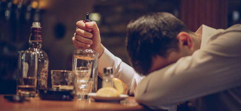 Heavy drinking in bar